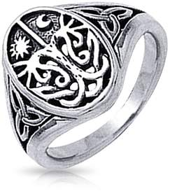 Celtic Bling Jewelry Antique Style Tree Of Life Band Sterling Silver Ring.