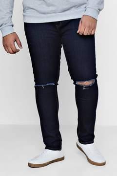 boohoo Big And Tall Indigo Ripped Knee Jeans