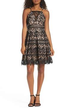 Adelyn Rae Krista Lace Fit & Flare Dress