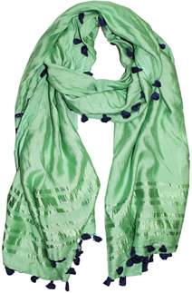 La Fiorentina Solid Color Scarf With Contrasting Pom Poms.