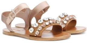 Miu Miu Embellished leather and satin sandals
