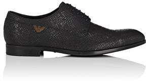 Emporio Armani Men's Stamped-Leather Bluchers