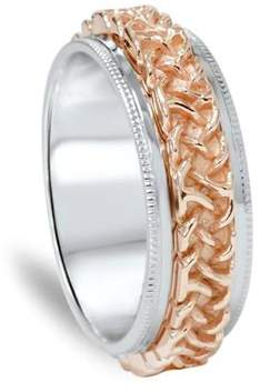 Celtic Pompeii3 7mm Rose & White Gold Two Tone Comfort Fit Wedding Band.