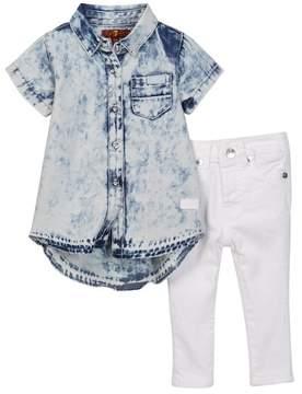 7 For All Mankind Denim Shirt & Jeans Set (Baby Girls)