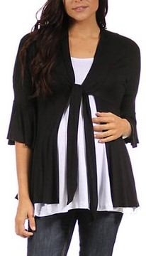 24/7 Comfort Apparel Maternity 3/4 Bell Sleeve Shrug With Front Tie