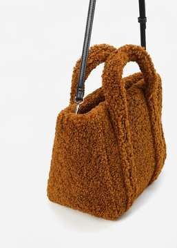 MANGO Shopper faux-shearling bag
