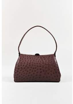Giorgio Armani Pre-owned Purple Ostrich Skin Top Handle Frame Handbag.