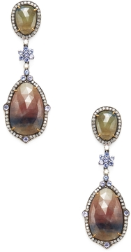 Artisan Women's Silver, 18K Yellow Gold, Sapphire, Tanzanite & 1.90 Total Ct. Diamond Drop Earrings
