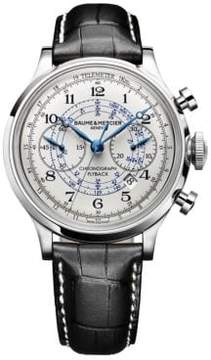 Baume & Mercier Capeland 10006 Flyback Stainless Steel & Alligator Strap Chronograph Watch