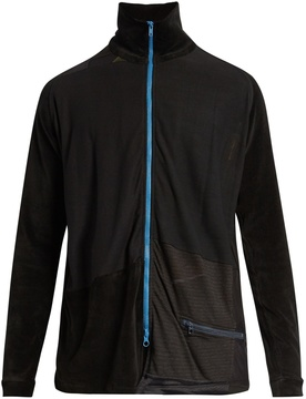 Longjourney Track zip-through cotton-velvet top