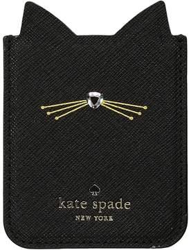 Kate Spade Embellished Cat Sticker Pocket Wallet - BLACK - STYLE