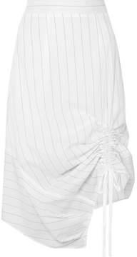Clu Ruched Pinstriped Cotton-poplin Skirt - White