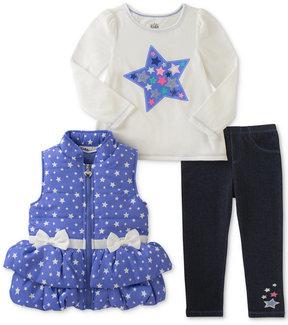 Kids Headquarters 3-Pc. Stars Vest, T-Shirt & Denim Leggings Set, Little Girls (4-6X)