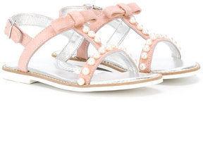 MonnaLisa faux pearl trim sandals