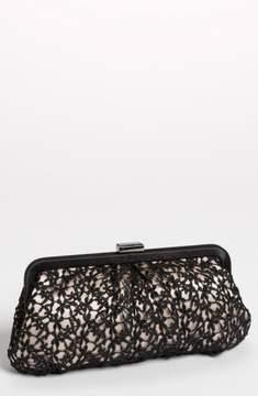 Menbur 'Crochet Floral' Clutch - Black