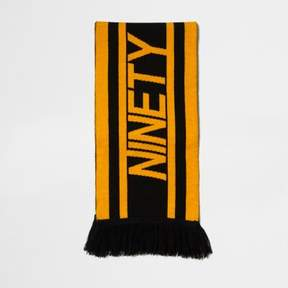 River Island Mens Black and yellow 'ninety' football scarf