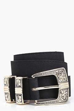 boohoo Alice Suedette Metal Tipped Western Belt