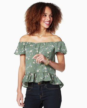 Charming charlie Floral Ruffled Peplum Top
