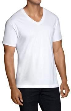 Fruit of the Loom Men's Classic White V-neck T-Shirts, 6 Pack