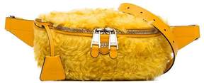Moschino yellow logo shearling belt bag