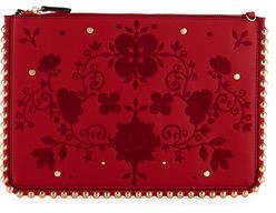 Neiman Marcus Flora Pouch Clutch Bag