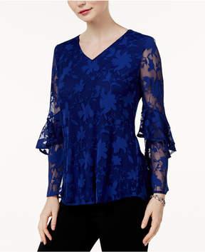 Alfani Burnout Ruffle-Sleeve Top, Created for Macy's
