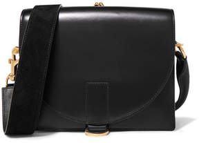Sacai Satchel Glossed And Textured-leather Shoulder Bag - Black