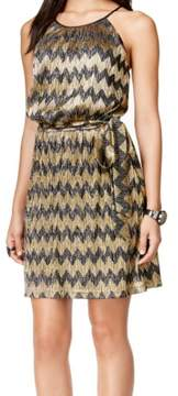 GUESS Women's Belted Metallic Chevron Pleated Dress (10, Black/Gold)