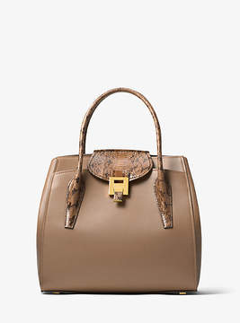 Michael Kors Bancroft Large Calf Leather And Snakeskin Satchel - NATURAL - STYLE