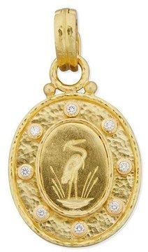 Elizabeth Locke 19K Gold Crane Pendant with Diamonds