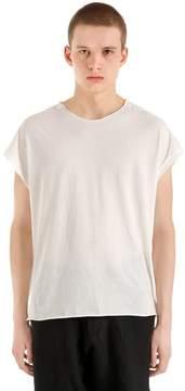 Isabel Benenato Raw Cut Cotton Jersey T-Shirt