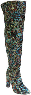 Bamboo Black Floral Madam Over-the-Knee Boot - Women
