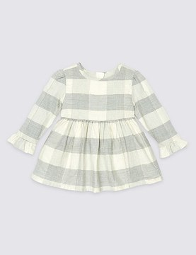 Marks and Spencer Cotton Rich Checked Woven Top