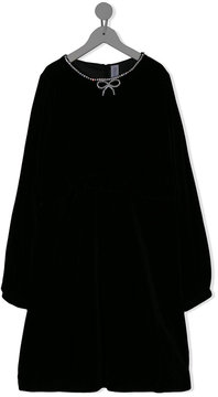 Simonetta crystal bow neckline dress