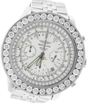 Breitling Bentley A25363 Chronograph Silver Diamond Steel 48mm Mens Watch