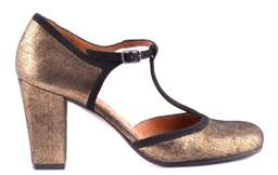 Chie Mihara Women's Gold Leather Pumps.