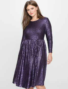ELOQUII Studio Sequin Fit and Flare Dress