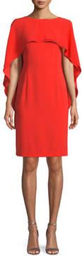 Escada Jewel-Neck Capelet Crepe Sheath Dress