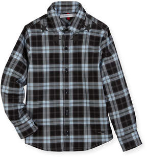 Givenchy Long-Sleeve Checkered Star Button-Down Shirt, Size 12-14