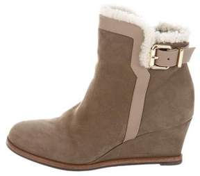 Fendi Suede Wedge Ankle Boots