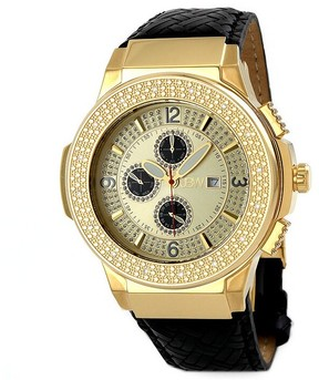 JBW Saxon Gold Dial Diamond Gold-tone Black Leather Watch Men's Watch