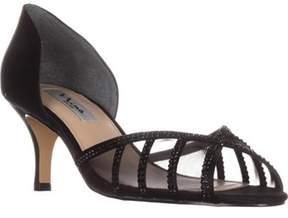Nina Corita Peep Toe Kitten Heels, Black.