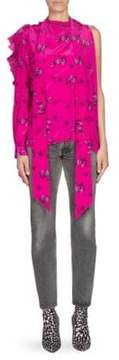 Balenciaga One-Sleeve Multi-Snap Silk Blouse