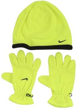 Nike Boy's Swoosh Logo 2-Piece Volt/Black Beanie Hat & Gloves Set Sz: 8/20