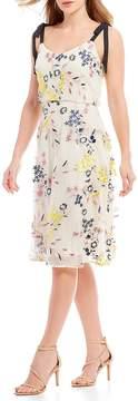 Donna Morgan Embroidered Blouson Midi Dress