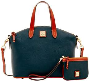 Dooney & Bourke Pebble Grain Satchel & Medium Wristlet - BLACK - STYLE