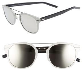 Christian Dior Men's 'Al 13.5S' 52Mm Sunglasses - Metallic Silver/ Blue