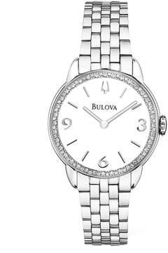 Bulova 29mm Round Bracelet Watch w/ Diamond Bezel