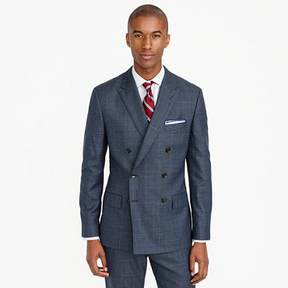 J.Crew Ludlow double-breasted suit jacket in glen plaid American wool