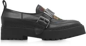 Moschino Black Leather and Camouflage Quilted Canvas Loafer w/Rubber Sole